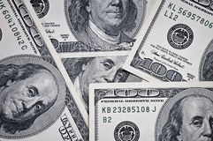 Closeup of hundred dollar bills Royalty Free Stock Photography