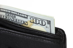 Closeup hundred dollars in wallet Royalty Free Stock Photo