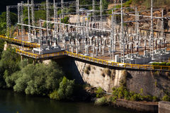 Closeup of hydro-electric power station Stock Photo