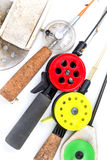 Closeup ice-fishing rods and equipment Stock Images
