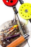 Closeup ice fishing rods and tackles Stock Photos