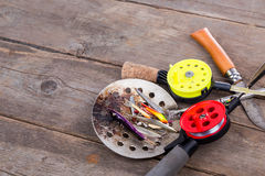Closeup ice fishing tackles and equipment Royalty Free Stock Images