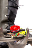 Closeup ice fishing tackles and equipment Stock Images
