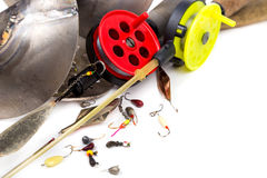 Closeup ice fishing tackles and equipment Stock Photo