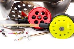 Closeup ice fishing tackles and equipment Royalty Free Stock Photos