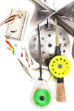Closeup ice fishing tackles and equipment Stock Image
