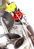 Closeup ice fishing tackles and equipment Royalty Free Stock Photography