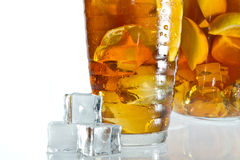 Closeup ice tea and cubes Stock Images
