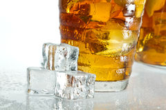 Closeup ice tea with dewdrop on cubes Stock Photo
