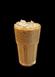 Closeup Iced Coffee on Black Background, Clipping Path. Closeup Iced Coffee Isolated on Black Background, Clipping Path Royalty Free Stock Photography