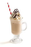 Closeup of iced coffee with whipped cream. On white background stock image