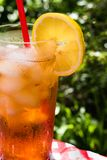 Closeup iced tea with lemon summer picnic. Iced tea with lemon summer picnic closeup outdoors with red and white cloth Stock Images