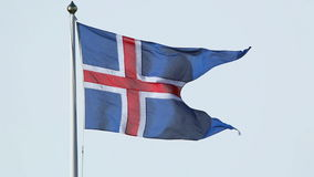 Closeup of the Icelandic national flag in the wind stock footage