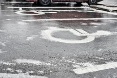 Icy parking lot Royalty Free Stock Images