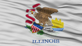Closeup Illinois Flag, USA state. Closeup Illinois Flag on Flagpole, USA state, Waving in the Wind, High Resolution Stock Photo