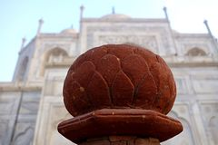 Red Lotus Post Cap Architectural Detail royalty free stock photo