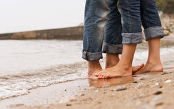 Closeup image barefoot couple legs Royalty Free Stock Photography