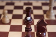 Closeup image of a board game chess on a gray background white and black figures.  Royalty Free Stock Images