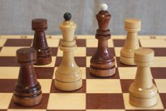 Closeup image of a board game chess on a gray background white and black figures.  Stock Image