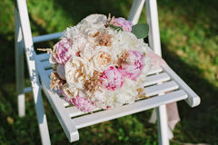 Closeup image of a bridal`s bouquette Royalty Free Stock Image