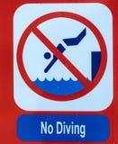 Close up no diving sign. Closeup image of bright sign prohibiting diving royalty free stock photos