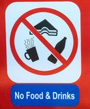 No food or drinks sign close up stock photography