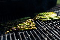Closeup image of a bunch of asparagus grilled royalty free stock images