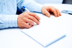 Image of businessman hand writing Royalty Free Stock Images
