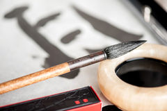 Closeup image of calligraphy tools Royalty Free Stock Photo
