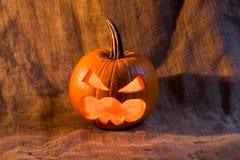 Scary jack-o-lantern with light inside close up Stock Photography