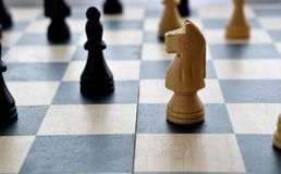 Closeup image of chess pieces royalty free stock images