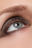 Closeup image of closed woman eye with beautiful bright makeup, smoky eyes Royalty Free Stock Photos