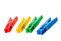 Closeup image of colorful clothespins isolated Stock Photo