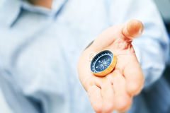 Image of compass in businessman hand Royalty Free Stock Image