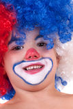 Closeup image of the cute little clown boy Stock Photography