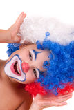 Closeup image of the cute little clown boy Royalty Free Stock Images