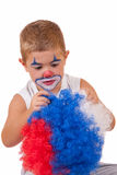Closeup image of the cute little clown boy Stock Image
