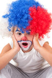 Closeup image of the cute little clown boy Royalty Free Stock Photo