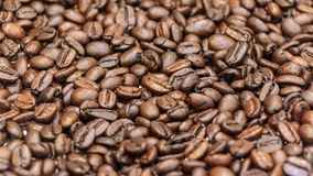 Closeup image of dark roasted coffee beans. Royalty Free Stock Photos