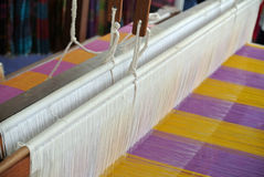 A closeup image and detail of an old weaving loom Royalty Free Stock Photos