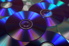 Closeup image of DVDs and CDs Stock Photos