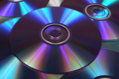 Closeup image of DVDs and CDs Royalty Free Stock Image