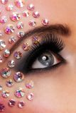 Closeup image of eyes with diamond makeup Royalty Free Stock Images