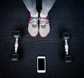 Closeup image of a female legs at gym Royalty Free Stock Image