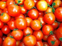 Closeup of Fresh Red Cherry Tomatoes. Closeup image of fresh red cherry tomatoes at the local market Stock Image
