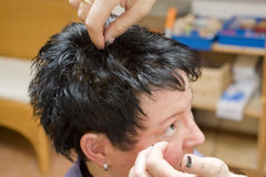 Woman at hairdresser Stock Photos