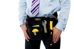 Closeup image of handyman tool belt Royalty Free Stock Image