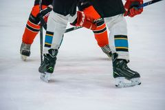 Close up legs of hockey players on ice stock image