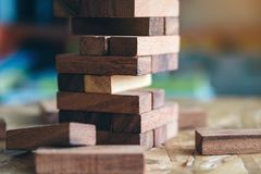 A Jenga or Tumble tower wooden block game royalty free stock image