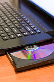 Closeup image from a laptop. And a CDRom / DVDRom reader stock image